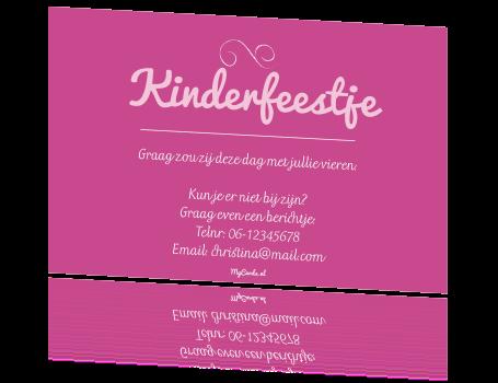 Uitgelezene Kinderfeestje uitnodiging teksten meisje typografie roze ZS-94