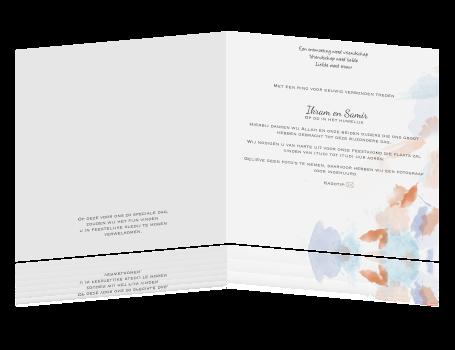 Vierkant hippe trouwkaart met lila en rode verf - Maken rode verf ...