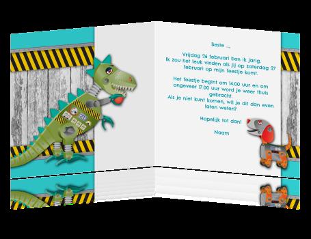 Ongebruikt Uitnodigingskaart kinderfeestje met dinosaurus en hout BU-89