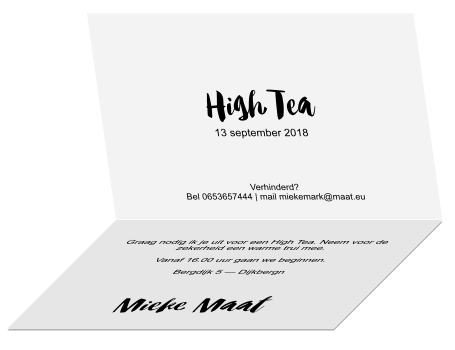 Spiksplinternieuw Uitnodiging high tea kleurplaat kaart vlinders AD-44