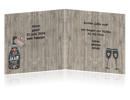 Beste Uitnodiging feestje verjaardag 50 sarah krijtbordfles FA-56
