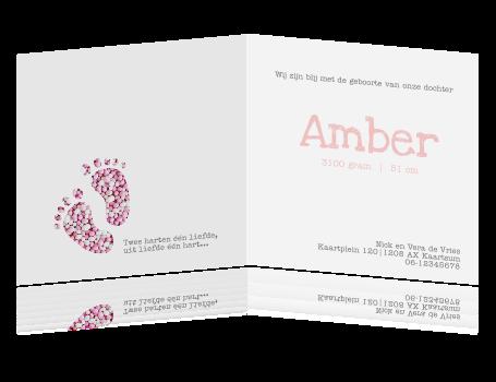 Schattig Meisjes Geboortekaartje Met Voetjes In Roze Muisjes