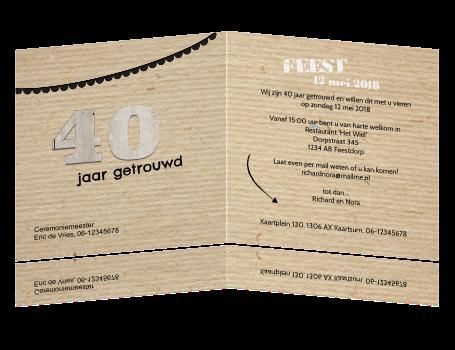 uitnodiging maken 40 jarig huwelijk Jubileum op kraft papier print met fotokader uitnodiging maken 40 jarig huwelijk