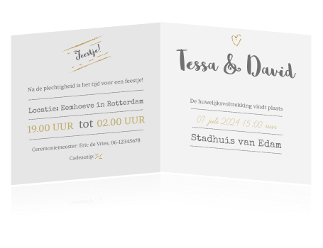 Hippe trouwkaart met gouden details en versieringen. De trouwkaart is voorzien van een leuke tekst: Let's dress up and let's make our wedding fabulous!  (4509)