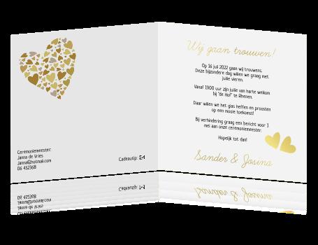 Wonderbaar Uitnodiging bruiloft trouwkaart met groot hart JT-26