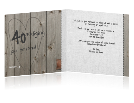trouwkaarten 40 jarig huwelijk Hippe houten uitnodiging hart 40 jaar getrouwd trouwkaarten 40 jarig huwelijk