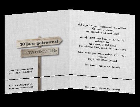 uitnodiging 30 jaar Uitnodiging 30 jaar getrouwd op wit linnen houten wegwijsbord uitnodiging 30 jaar