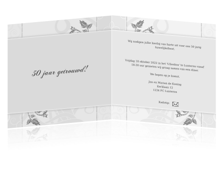 tekst 50 jaar getrouwd kaart Stijlvolle kaart wit met zilveren ornamenten 50 jaar getrouwd tekst 50 jaar getrouwd kaart
