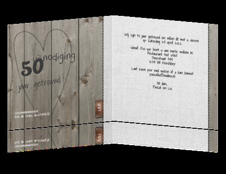 Populair Uitnodiging feest 50 jaar getrouwd hout en linnen @FQ66