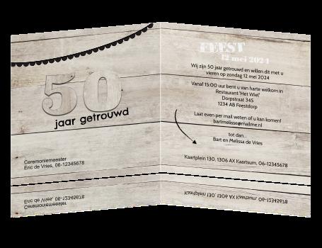 Uitzonderlijk Uitnodiging feestje 50 jaar getrouwd met houten planken #RO21