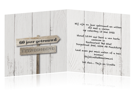 uitnodigingskaarten 60 jaar getrouwd Uitnodiging jubileum 60 jaar getrouwd grijs hout en borden uitnodigingskaarten 60 jaar getrouwd
