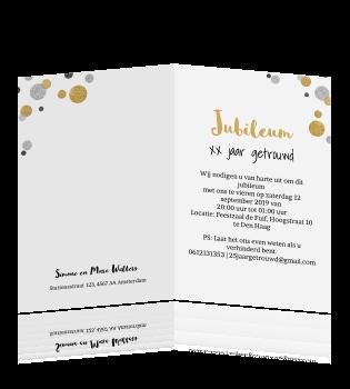60 jaar getrouwd tekst kaart Jubileum 60 jaar getrouwd confetti in zilver en goudlook