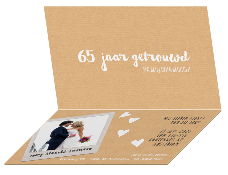 65 jarig huwelijk briljant Briljant 65 jaar jubileum uitnodiging met harten pijl op karton 65 jarig huwelijk briljant