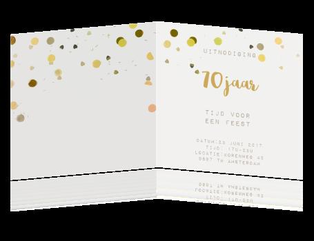 Uitnodiging 70e Verjaardag Goud Confetti