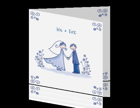 Fabulous Delftsblauwe trouw kaart met getekend bruidspaar #RS33