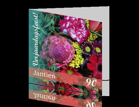 Feest Verjaardag Mooie Bloemen In Groen En Rood
