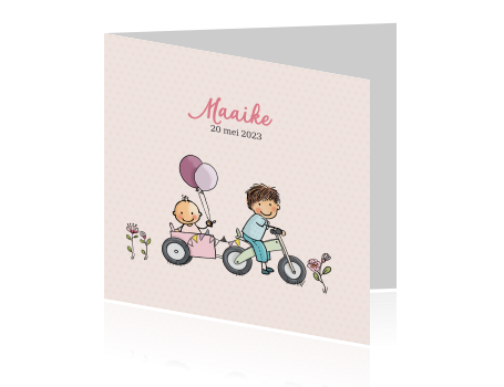 Getekend geboortekaartje broer en baby meisje met loopfiets