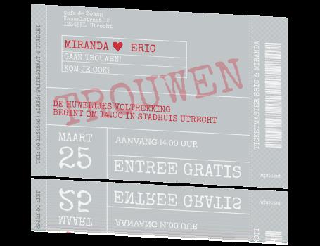 Leuke Grappige Trouwkaart Uitnodiging Vip Ticket Voor Bruiloft