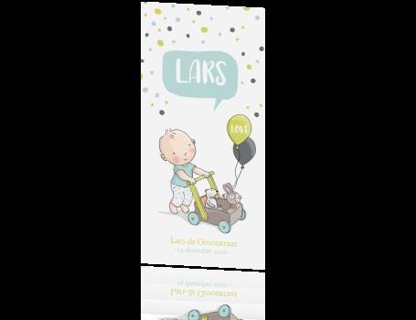 Geboortekaart baby jongen met loopkar