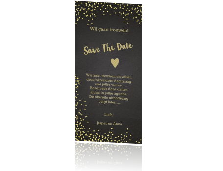 Save the date goud tinten confetti krijtbord