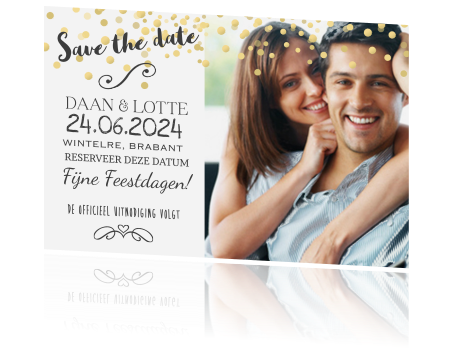 Save the date kaart met confetti en goud