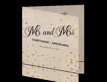 Ongebruikt Trendy uitnodiging huwelijk met gouden bolletjes PX-28