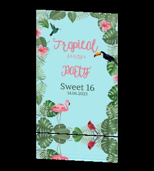Uitnodiging Verjaardag Sweet 16 Met Bloem Kaart Met Flamingo