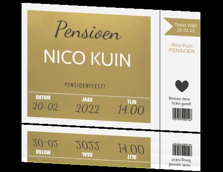 Populair Uitnodiging pensioen kaart ticket in goud met wit GG44