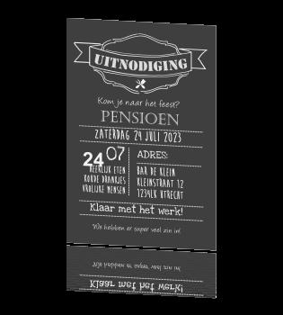 Fabulous Pensioen uitnodiging krijtbord strak met aanpasbare tekst IG18