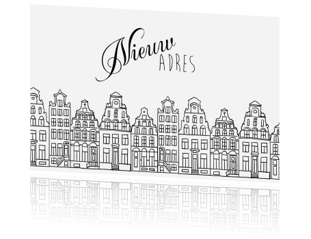 18 Jaar Getrouwd Kleurplaat Verhuiskaart Steden Amsterdamse Grachtenpanden Amsterdam
