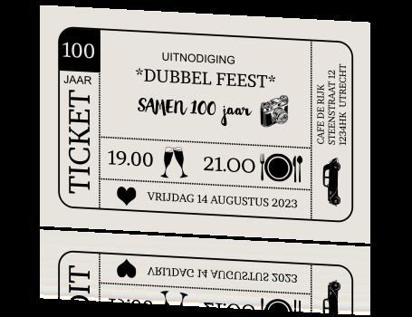 samen 100 jaar Verjaardagsuitnodiging dubbel feest samen 100 jaar als ticket samen 100 jaar