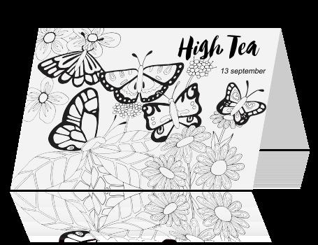 Uitnodiging High Tea Kleurplaat Kaart Vlinders