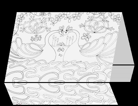 Kleurplaat Kaart Met Zwanen