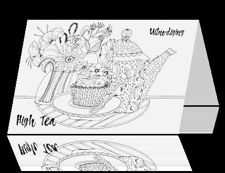 Welp Uitnodiging high tea kleurplaat kaart theepot AI-62