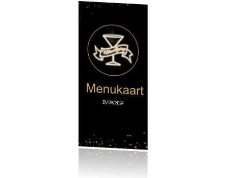 Uitnodiging menukaart black and gold