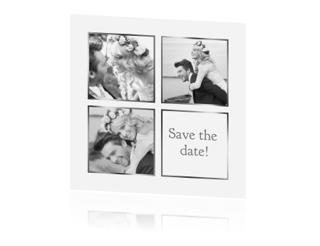 Save the date fotocollage wit zilver