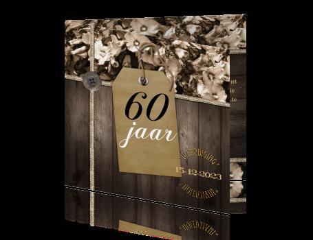Vintage 60 Jaar Uitnodigingskaart Met Bruin Hout En Bloemen