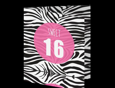 Uitnodiging 16e Verjaardag Dierenhuid Zebra
