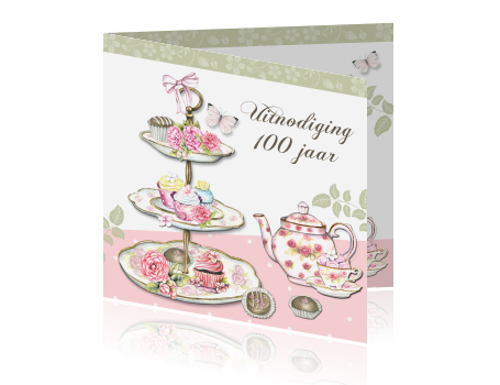 Uitnodiging 100ste Verjaardag High Tea Feest Vrouwen
