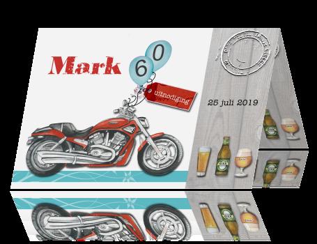 Kaart 60e Verjaardag Man Met Rode Motor En Bier