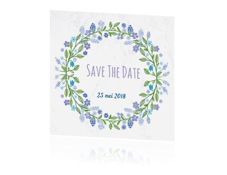 Save The Date kaart met bloemenkrans en marmer