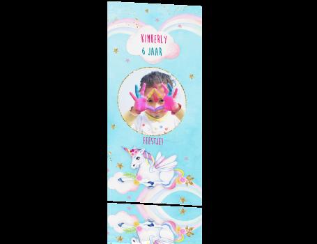 Uitgelezene Uitnodiging kinderfeestje unicorn meisje PO-07