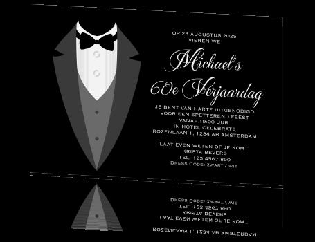 uitnodiging verjaardag 60 jaar Formele zwart wit uitnodiging voor 60e verjaardag uitnodiging verjaardag 60 jaar