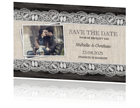 Stijlvolle foto save the date postkaart