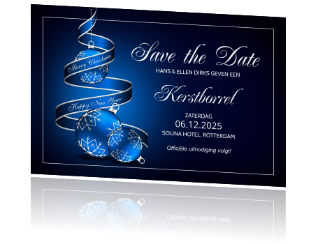 Stijlvolle kerst uitnodiging save the date