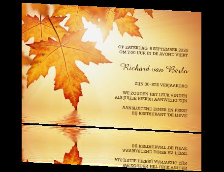 Uitnodiging 30ste Verjaardag Met Oranje Herfstbladeren