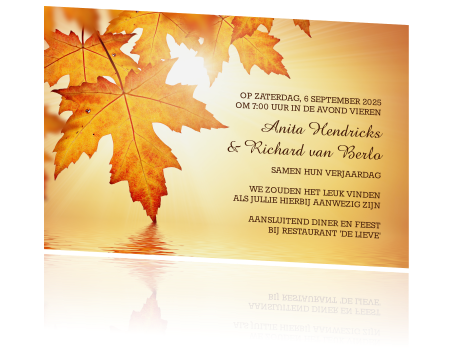 Uitnodiging Dubbel Feest Verjaardag Met Oranje Herfstbladeren
