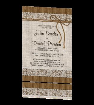 Nieuw Stijlvolle, rustieke trouwkaart met jute, kant en een strikje IK-86