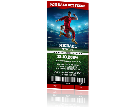 Stoere Voetbal Verjaardag Uitnodiging Kinderfeestje Ticket Thema