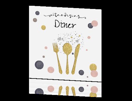 Vaak Leuke uitnodiging kaart diner etentje met gouden bestek en confetti OM99